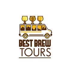Beer Flight Glass Van Best Brew Tours Retro vector image vector image