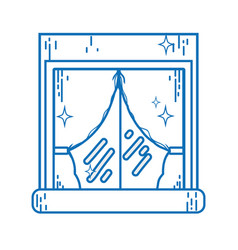 Line house window clean with curtains design vector