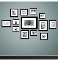Photo frames on wall vector image vector image