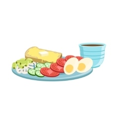 Toast Egg Vegetables And Coffee Breakfast Food vector image vector image