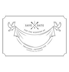 Vintage wedding invitation stamp vector image vector image