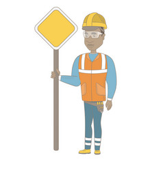 young african road worker showing road sign vector image vector image