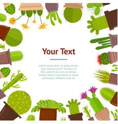 cartoon cactus plant in pots banner card vector image