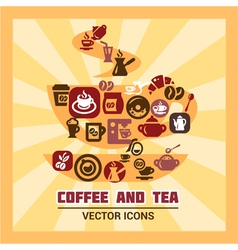 colorful coffee and tea icons vector image vector image