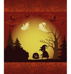 Halloween landscape ghosts pumpkins and witch vector image