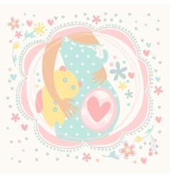 Pregnant woman with baby inside happy child vector image