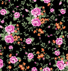 classic roses on black ground vector image