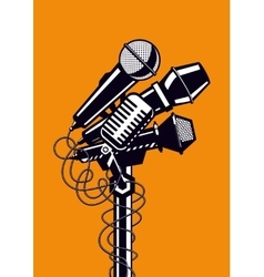 Music poster with microphones vector image vector image