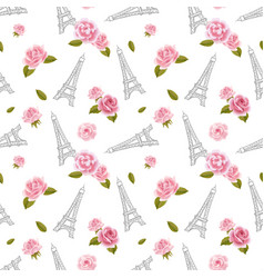 seamless pattern with eiffel tower and roses on vector image vector image