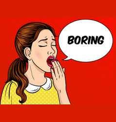 yawning girl pop art style vector image vector image