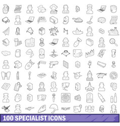 100 specialist icons set outline style vector
