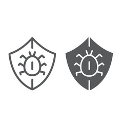 Antivirus line and glyph icon security vector