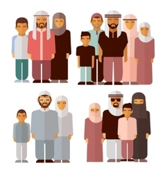 Arabic family in traditional muslim clothes vector