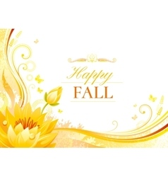 Autumn background with water lily flower falling vector