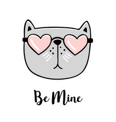 Be mine hand drawn greeting card with valentines vector