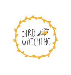 Bird watching emblem birding and ornithology vector