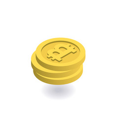 bitcoin icon pile of gold coins with bitcoin sign vector image