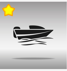 black boat powerboat icon button logo symbol vector image
