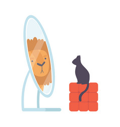 Black cat looking at mirror pretend to be lion vector