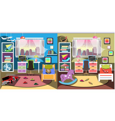 Boy and girl room set vector