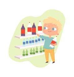 Boy buying drink cartoon baby male character guy vector