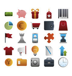 bundle business colorful set icons vector image