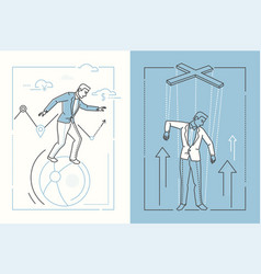 business stability - set of line design style vector image