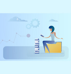 business woman sitting at books stack reading vector image