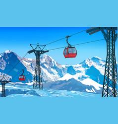 Cableway in alps vector
