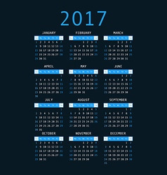 calendar for 2017 on black background vertical vector image