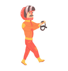 Car racing driver man in an orange uniform and vector