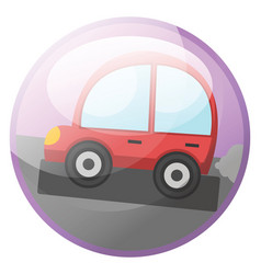 cartoon character of a red car driving on the vector image
