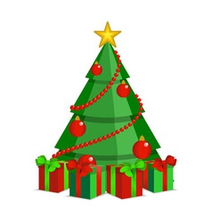 Cartoon christmas tree on white backdrop vector