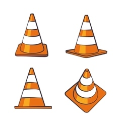 Cartoon Traffic Cones Set vector image