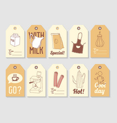 Coffee hand drawn tags collection vintage style vector