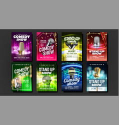 Collection of stand up show posters set vector