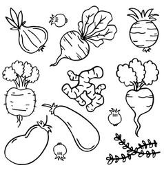 Collection of vegetable doodles vector