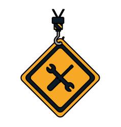 color caution diamond emblem with mechanic vector image