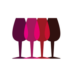 color silhouette with set of glass cups vector image