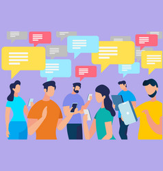 communicating people crowd with speech bubbles vector image
