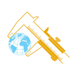 concept calipers measuring the earth vector image