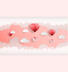 creative valentines day background paper cut style vector image