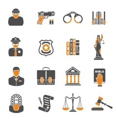 Crime and Punishment two color Icons vector image