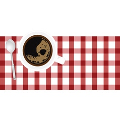 Cup coffee aroma on tablecloth vector