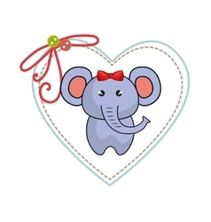 cute animal with frame heart vector image