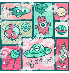 Cute seamless Space pattern vector
