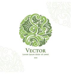 Dark and light green leaves organic emblem vector