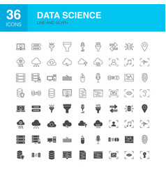 data science line web glyph icons vector image