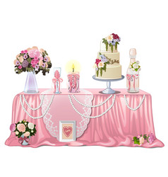 Decorated table with wedding paraphernalia vector