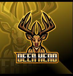 Deer head esport mascot logo design vector